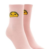 Happy Taco Graphic Crew Socks