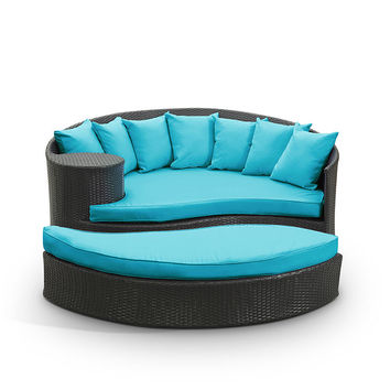 Tonga Outdoor Wicker Patio Daybed with Ottoman Espresso / Turquoise