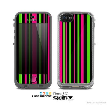 The Pink & Green Striped Skin for the Apple iPhone 5c LifeProof Case