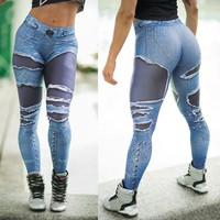 Women Jeans Print Leggings Sporting Workout Leggins 3D Workout Fitness Elastic Pants
