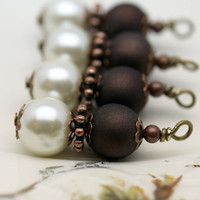 Vintage Style Bead Dangle Charm Drop Set in Copper with White Pearl and Dark Chocolate Brown Beads