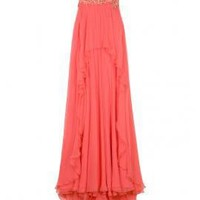 Crystal Waist Chiffon Gown - Dresses - Clothing - Womens