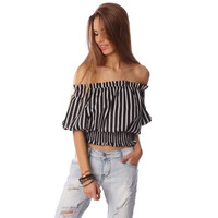 Q2 Black crop top in stripe with off shoulder