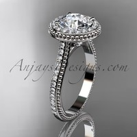 """14kt white gold diamond unique engagement ring, wedding ring with a """"Forever Brilliant"""" Moissanite center stone ADER97"""
