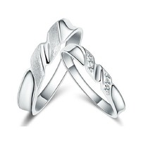 18k White Gold Plated Spiral Design Couple Style Band Ring (Men's or Women's)