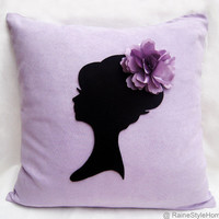 Romantic Cameo Lilac And Black Pillow Cover. Feminine Girls Room Decor. Pretty Floral Lavender Cushion Cover