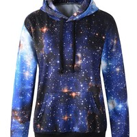 CS&JM Women's Printing Hooded Pullovers Sweatshirts (S, Multicolour Blue)