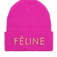 Fuchsia Feline Beanie with Gold Embroidery