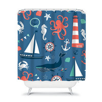 Nautical Shower Curtain Blue Sailboat Octopus Anchor Sea Ocean Whale Starfish Child Bathroom Bath Polyester Made in the USA