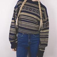 Vintage Navy Tribal Sweater