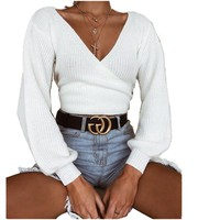 Lossky New Women Loose Sweater Casual Autumn And Winter Fashion White Lace Long Sleeve V-Neck Sweaters Women Clothing