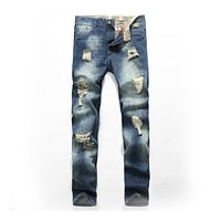 Vintage Man Personality Style Simple Slim Ripped Jeans