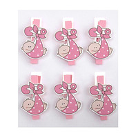 Baby with Safety Pin Wooden Clothespins Favors, 2-Inch, 6-Piece, Pink