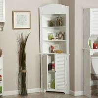 Bathroom Linen Tower Corner Storage Cabinet in White