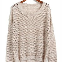 L 073010 Mixed line hollow bat sleeve loose knit sweater-2 from cassie2013