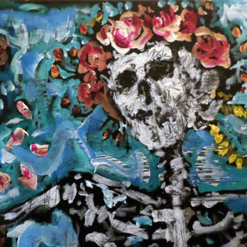 The Grateful Dead - Unique Painting - 16x20 - Music Memorabilia - Skull and Roses - Original Handpainted Art on Canvas