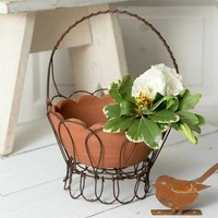 Tulip Caddy with Terra Cotta Pot