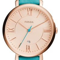 Women's Fossil 'Jacqueline' Round Leather Strap Watch, 36mm - Blue/ Rose Gold