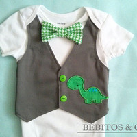 Baby Boy Vest Bodysuit - Dinosaur Vest Bodysuit - Boys gray vest bodysuit - First birthday outfit.