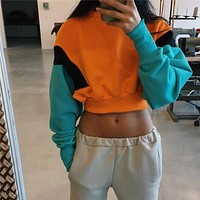 NCLAGEN 2018 New Women Spring Autumn Cute Pinkycolor Orange Hoodies Long Sleeve Loose Crop Top Sweatshirt Casual Patchwork Cloth