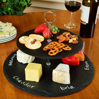 Picnic At Ascot Serat 2 Layer Round Slate Cheese Tray