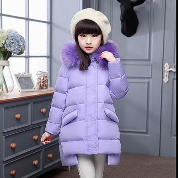 Girl's winter Down jackets/coats baby Girl winter Coats thick duck down Warm jacket Children Outerwear for-30 degree