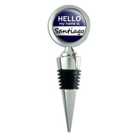 Santiago Hello My Name Is Wine Bottle Stopper
