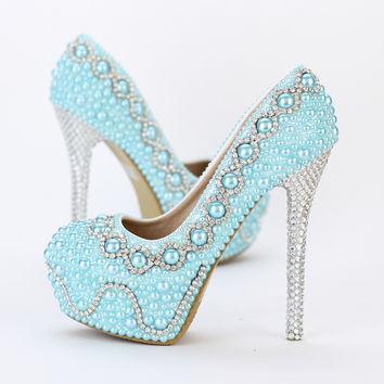 Women Bead Rhinestone  Prom Shoes