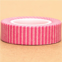 Pink and white stripes Paper Deco Washi Masking Tape Roll Adhesive Stickers WT35