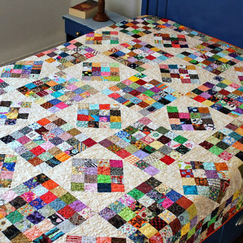 Twin Bed Quilt, Full Bed Quilt, Dorm Quilt, Reversible, Multi-Colored Quilt, Patchwork Quilt, Postage Stamp Quilt, Quiltsy Handmade