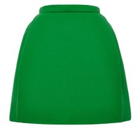 DELPOZO Double Faced Wool Crepe Miniskirt In Amber Green Amber Green