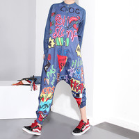 2016 Autumn Fashion Women Denim Jumpsuit Graffiti Loose Long-sleeved Denim Harem Pants Siamese Jumpsuit Hipster