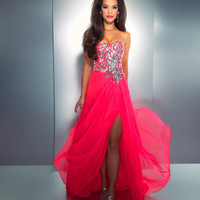 Mac Duggal Prom 2013 - Strapless Hot Pink Sequin Dress - Unique Vintage - Cocktail, Pinup, Holiday & Prom Dresses.