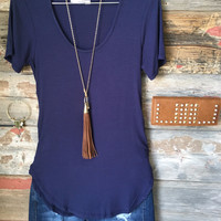 Sweet and Simple Ribbed Top: Navy