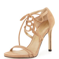 Hottime Suede Lace-Up Sandal, Cashew