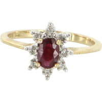 Ruby Diamond Vintage Princess Small Cocktail Ring 10 Karat Yellow Gold Jewelry 6.75