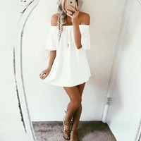 Off Shoulder  Plain  Short Sleeve Casual Dresses