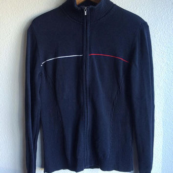 SALE Womens LARGE 90s Tommy Hilfiger Half Zip Logo Stripe Sweater // Navy Classic Tommy Sweater