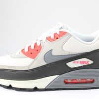 Nike Men's Air Max 90 White/Cool Grey/Red Running Shoes 537384 108