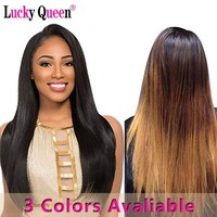 Lucky Queen Hair Peruvian Straight Hair 3 Bundles Deal #1B/#2/1b/4/30 100% Human Hair Extensions Non Remy Hair Weave Bundles
