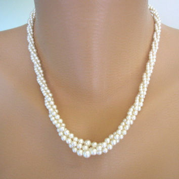 Twisted Pearl Necklace, Great Gatsby, Pearl Choker, Multistrand, Bridal Jewelry, Art Deco, Ivory Pearls, Bridal Pearls, Wedding
