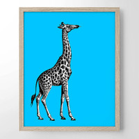 Giraffe With Pop Color, Vintage Engraving, Simplistic, Cute, Minimalist, Colorful Office, Kitchen, Home, Nursery Decor, Unique Gift, Poster