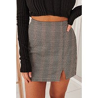 Sycamore Brown Plaid Sit Mini Skirt (Brown Combo)
