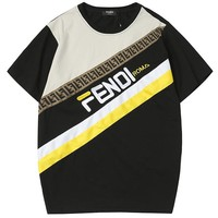 Fendi 2019-New color matching double F oblique printing men and women round neck shirt 2#