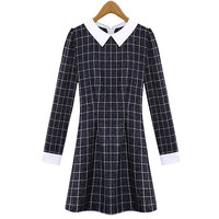 Navy Plaid Long-Sleeve A-Line Collared Dress
