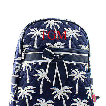 Navy Palm Tree Monogrammed Backpack Monogram Quilted Backpack Personalized Backpack
