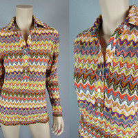 Vintage 60s California Ranchwear Zig Zag Knit Western Shirt H Bar C Rockabilly womens L Top Cowgirl