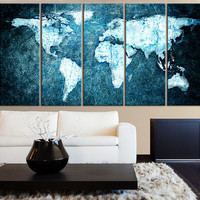 Beautiful WORLD MAP Blue Background Canvas Print - 5 Panel Canvas Art Print - World Map Drawing - Streched Canvas