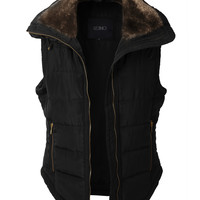LE3NO Womens Fully Lined Quilted Puffer Vest with Faux Fur Collar