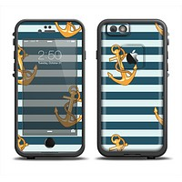 The Navy Striped with Gold Anchors Apple iPhone 6 LifeProof Fre Case Skin Set